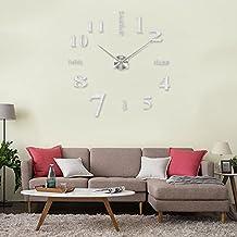 MMBOX orologio da parete con numeri romani adesivi 3D fai da te, dimensione grande, Acrilico, Digital Silver, 70cm(minimum); 130cm(maximum)