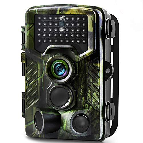 Binrrio Cámara de Caza 16MP 1080P HD Cámara de Vigilancia con 42pcs IR Leds Invisible Visión Nocturna Lapso de Trail Cámara, Diseño Impermeable IP65 Cámara de Animal