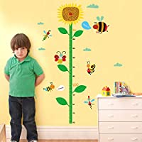 ZWXDMY Height Measurement Wall Sticker,Cartoon Sunflower Animal Insect Family Ladybug Butterfly Kids Room Bedroom Child Height Stickers Growth Measuring Height Fashion Mural Poster Decoration