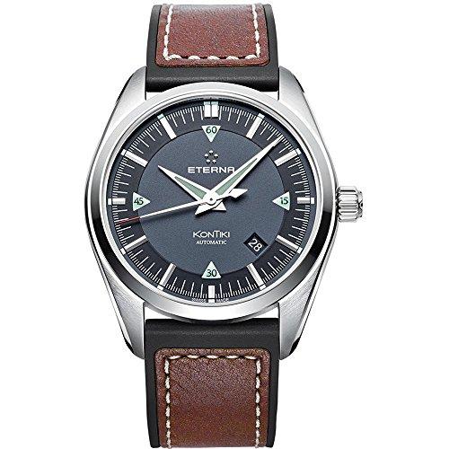 Eterna KonTiki Herren-Armbanduhr 42mm Armband Leder Braun Gehäuse Edelstahl Automatik 1222-41-41-1301