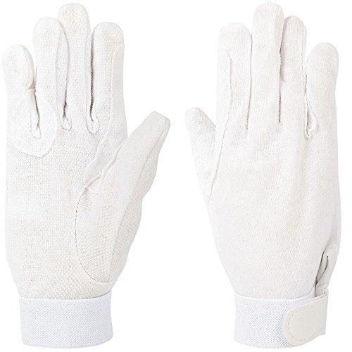 Baumwoll Reit Handschuhe weiß mit Grip verschiedene Größen, Auswahl:XL