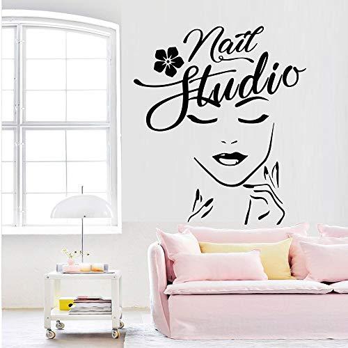 Neues Design Beauty Salon Decor Vinyl Aufkleber Für Verglasung Platte Glaswandbild Wallstickers Mädchen Schlafzimmer Dekoration Wallpaper-85x75cm (Vinyl-platten Steine)