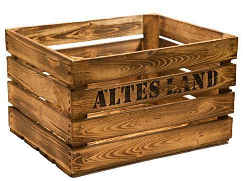 """3er set massive Obstkiste Apfelkiste Weinkiste aus dem Alten Land +++ 49 x 42 x 31 cm (GEFLAMMT MIT AUFSCHRIFT\""""ALTES LAND\"""")"""