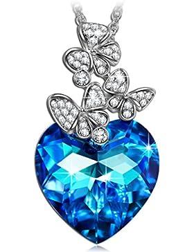LADY COLOUR - If the Heart Splendor - Kette Damen mit Blau Kristallen von SWAROVSKI® - Kristallherz Kollektion