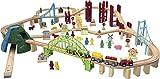 B-Creative Carrousel Mega 150 Piece en Bois 2 en 1 Train de Voiture City Track Set (ELC Brio Thomas)