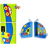 Set de sujetalibros decorativos y gráfico de crecimiento decorados con coches para la habitación de los niños