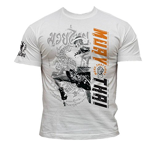 Muay Thai MMA Herren Men's T-Shirt K71, Wei, L -