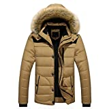 Steppjacke VENMO Männer Outdoor Mantel Warm Winter dick Jacke Plus Faux Pelz Kapuzenmantel Herren Winterjacke Parka Sweatjacke Steppjacke Jacke Sportjacke Wärmejacke Jacke Parka Gesteppt (M, Khaki)