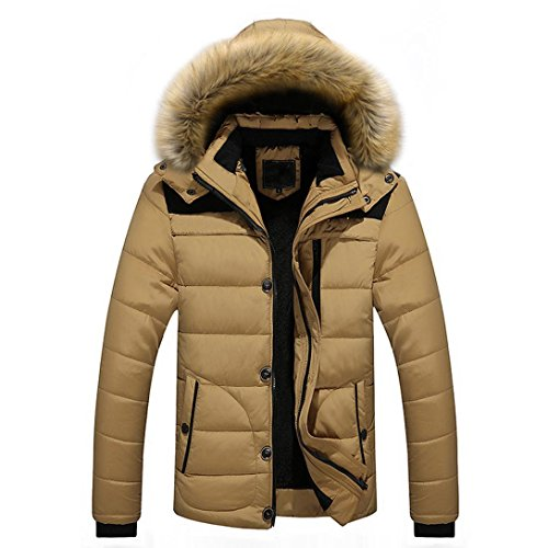 Steppjacke VENMO Männer Outdoor Mantel Warm Winter dick Jacke Plus Faux Pelz Kapuzenmantel Herren Winterjacke Parka Sweatjacke Steppjacke Jacke Sportjacke Wärmejacke Jacke Parka Gesteppt (M, Khaki) (Leder Gesteppte Moto Faux Jacke)