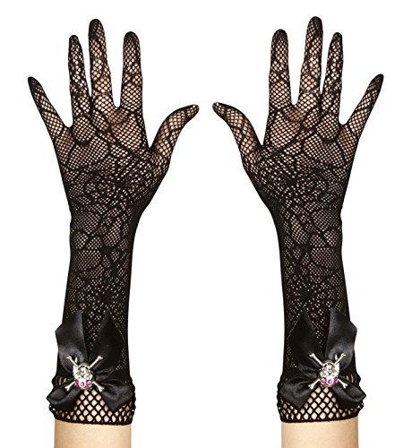 Widmann 9382s-Handschuhe gestrickt mit Spinnennetz und Totenkopf aus Strass, Einheitsgröße Erwachsene - Strass-trikot
