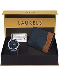 Laurels Analogue Blue Dial Men's Watch & Wallet Combo - Cp-Inc-603-Tsk-0306
