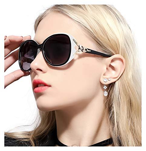 FIMILU Sonnenbrillen Damen Über-Groß, Retro Designer-polarisiert Brille Frauen, 100% UVA/UVB Schutz (Weiß,Grau)