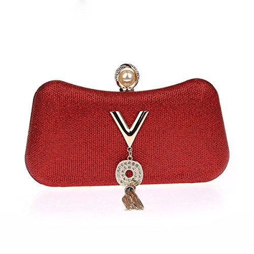 Kristall Sequin Abend Hochzeit Braut Prom Geldbörse Clutch Taschen Handtaschen Einfach Stilvoll Handtasche Diamant Kleid Pack Red