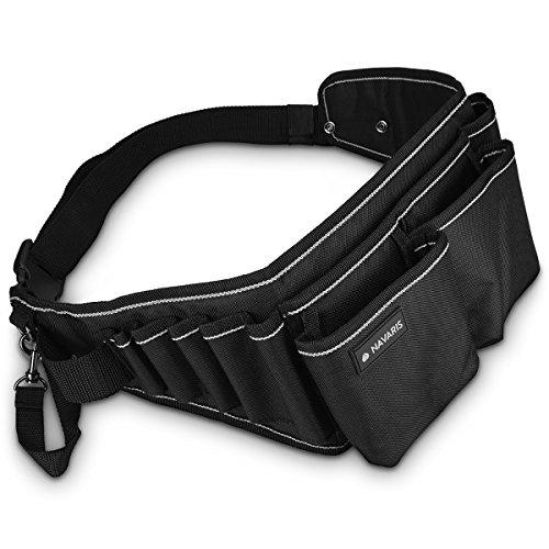 Navaris cintura porta attrezzi con fibbia a scatto - marsupio porta utensili con tasche scomparti asola per martello - fodero portattrezzi nero grigio