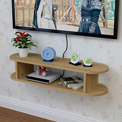 KTYXDE Set-Top Box Rahmen Wandmontage WiFi Rahmen Wohnzimmer TV Wand Dekoration Trennwand Schlafzimmer Router Aufbewahrungsbox 4 Farben optional schwimmende Regale Teak Color
