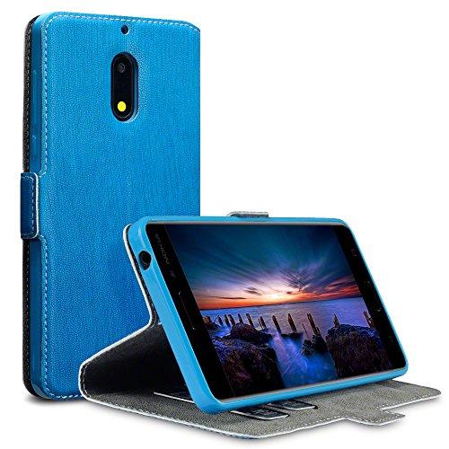 Nokia 6 Cover, Terrapin Cover di Pelle con Funzione di Appoggio Posteriore per Nokia 6 Custodia Pelle, Colore: Blu