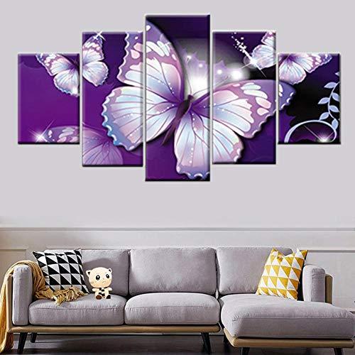 sanzx HD Impression sur Toile Peinture 5 Panneau Violet Papillon Image Modulaire Nordique Affiche Chambre Salon Maison Mur Art Décoration30 * 40 * 2 30 * 60 * 2 30 * 80 Cmframeless