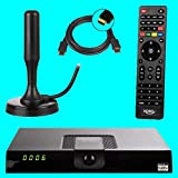 netshop 25 Xoro HRT 8720 Full HD HEVC DVB-T/T2 Receiver + 20 dB ANTENNE (H.265, HDTV, HDMI, Irdeto Zugangssystem, Mediaplayer, PVR Ready, USB 2.0, 12V) schwarz