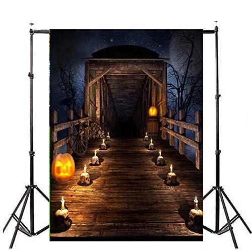 Deloito Halloween Hintergründe Kürbis Vinyl 3x5FT Laterne Wandtattoo Hintergrund Fotografie Studio Wandaufkleber (J, 90cm*150cm)