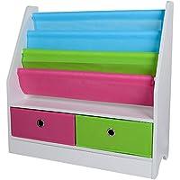 Preisvergleich für TOP-MAX Kinderregale Bücherregal Kinder Bücherschrank Stoff Buchen Aufbewahrung Regale Ständer mit 2 Spielzeug Aufbewahrungsbox für Kinderzimmer