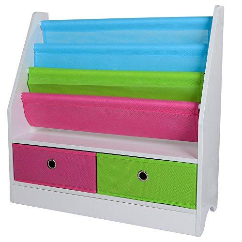 TOP-MAX Kinderregale Bücherregal Kinder Bücherschrank Stoff Buchen Aufbewahrung Regale Ständer mit 2 Spielzeug Aufbewahrungsbox für Kinderzimmer