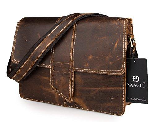 YAAGLE Echtes Leder Herren Taschen Schultertasche Querschnitt Umhängetasche Kuriertasche Reisetasche-dark brown dark brown