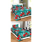 Combo Grace Cotton Bedsheet Set-1 Double Bedsheet With 2 Pillow Cover(90x90 Inches),1 Single Bedsheet With 1 Pillow Cover(90x60 Inches) From Star Bazaar