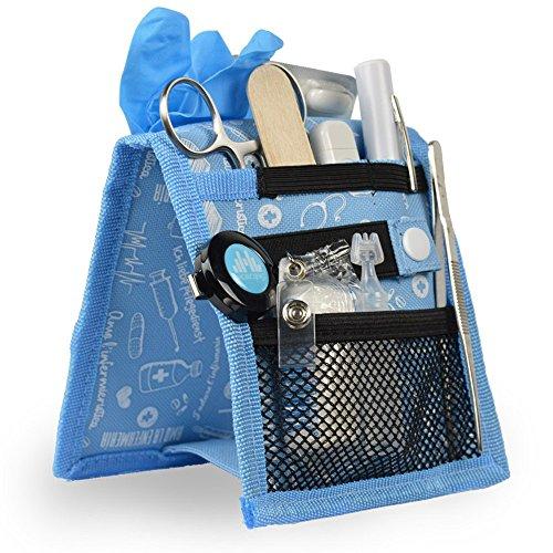 Mobiclinic Organizador Auxiliar de enfermería | Keen's Bata o Pijama | Diseño Exclusivo con Estampados en Color Azul | Amo la enfermería