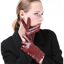 """Harrms Guantes de genuino nappa cuero Mujer, con forro de felpa perfecto para invierno, pantalla táctil disponible, Rojo, M= 6,8"""""""