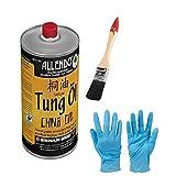 Tungöl - Holzöl - 100 % biologisches Naturprodukt lebensmittelecht inkl. Pinsel und Nitrilhandschuhe zum Auftragen (250 ml)