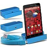 (Baby Blue)Motorola Moto Droid Mini Micro Desktop USB Charging Dock Mount Stand & Micro USB portatile / PC sincronizzazione di dati del cavo di carico da ONX3