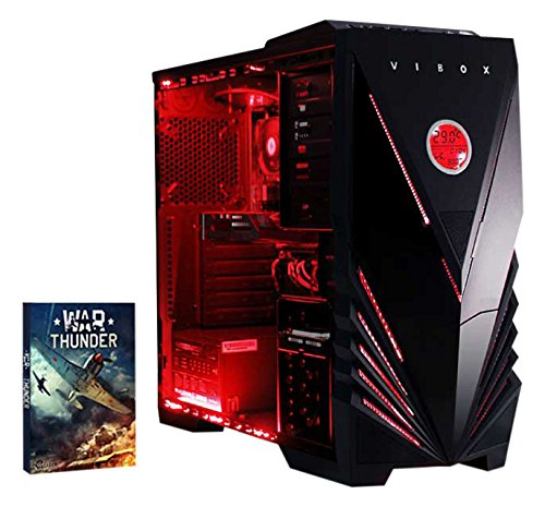 Affordable Vibox Sharp Shooter 7S Gaming PC – with Warthunder Game Bundle (4GHz AMD FX Quad Core Processor, Nvidia Geforce GTX 750 Graphics Card, 1TB Hard Drive, 8GB RAM, Vibox Commando Red LED Case, No Operating System)