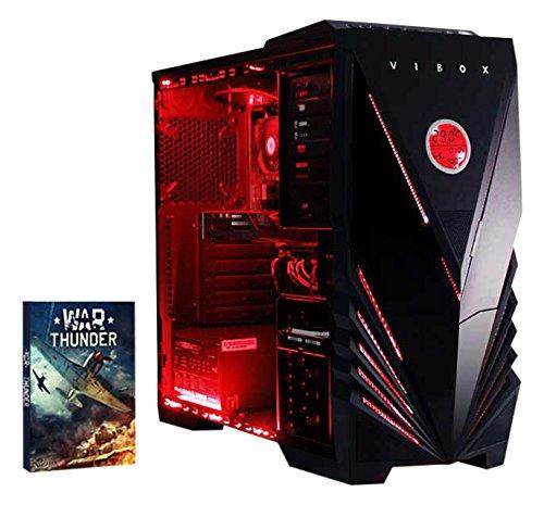 VIBOX Sharp Shooter 7S - 4.0GHz, GTX 750, Estremo, Gamer, Gaming, Desktop PC, Computer con WarThunder Gioco Bundle, Neon Rosso Kit illuminazione interna - Oltre a una garanzia a vita incluso* (3.8GHz (4.0GHz Turbo) AMD, FX 4300 Quad Core Processore, 1 GB Nvidia Geforce GTX 750 Scheda Grafica PSU, 1TB Hard-Disk, 8 GB 1600MHz RAM, Nessun sistema operativo)