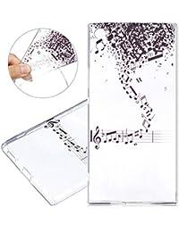 Funda para Sony Xperia XA1 Ultra, Case Cover para Sony Xperia XA1 Ultra, ISAKEN Pintura Diseño Crystal View Ultra Slim Carcasa de Silicona TPU en Transparente Resistente a Arañazos Trasera Bumper Protección Case Cover Funda Cáscara para Sony Xperia XA1 Ultra (Nota Negro)