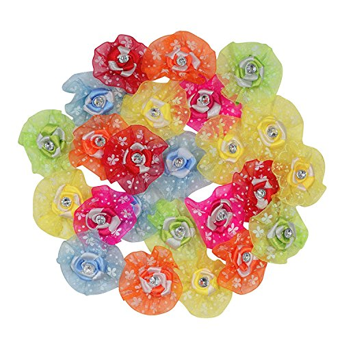 Anshartandcraft Decorative Flower For Craft and Decoration: Pack Of 24 Pcs (Organza Ribbon Rose Flower)