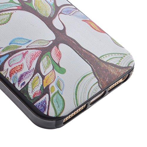 Voguecase® Per Apple iPhone 5 5G 5S, Custodia Silicone Morbido Flessibile TPU Custodia Case Cover Protettivo Skin Caso (Nero - be happy 03) Con Stilo Penna Nero - Grande albero di colore