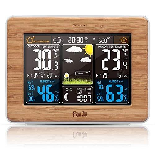 FanJu Despertador Estación meteorológica Temperatura Humedad Sensor de Pared Barómetro Previsión...