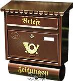Großer Massivstahl-Briefkasten, verzinkt mit Rostschutz Flachdach F kupfer kupferfarben braun mit Katalogeinwurf und Zeitungsrolle