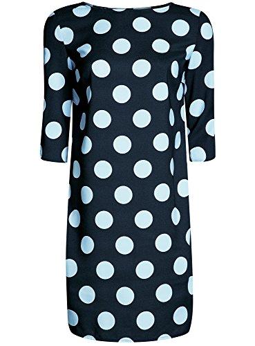 oodji Collection Damen Gerade Geschnittenes Kleid mit Tropfen-Ausschnitt am Rücken Blau (7970D)