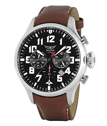 Aviator AVW1267G145 horloge heren - bruin - edelstaal