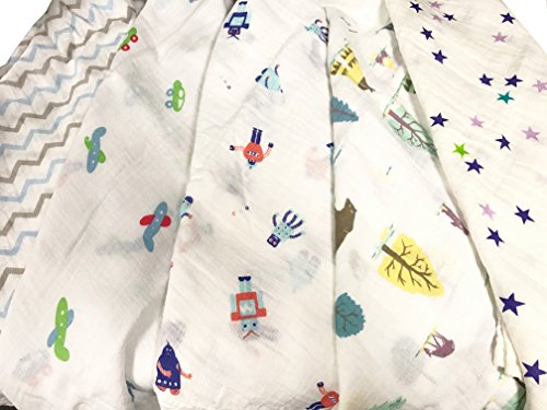 2pcs-extra-large-115cmx115cm-muslin-squares-cloths-100-cotton-boy-design-baby-bibs-wipes
