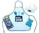 Junior Chef enfants Bleu kit de pâtisserie Tablier Chapeau Fouet Spatule Cuillère Moule Ustensiles