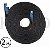 Flat HDMI Cable 50FT [2 Pack],KAYO High Speed HDMI Cable HDMI2.0 Super HD 4K 2160p Supports 4K,Ultra HD,3D,2160p,1080p,Ethernet,ARC,Blu-Ray,PS3,PS4,Xbox 360,HD Streaming+ Cable Tie