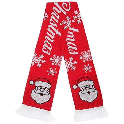 FLOSO - Echarpe à motif festif - Adulte unisexe Père Noël