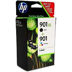 HP 901 - Pack de ahorro de 2 cartuchos de tinta Original HP 901XL de álta capacidad Negro, HP 901 Tricolor para HP OfficeJet J4580, J4660, J4680