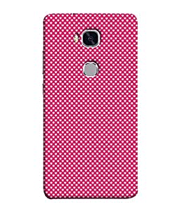 FUSON Designer Back Case Cover for Huawei Honor 5X :: Huawei Honor X5 :: Huawei Honor GR5 (Valentine Pink Metallic Hearts Cool Peace Sign Symbol)