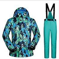 Jiuyizhe Conjunto de Chaqueta de esquí de Invierno, Impermeable y Cortavientos para Hombres y Pantalones Impermeables (Color : 01, Size : XXL)