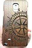 RoseFlower� Samsung Galaxy Note 4 Wooden Case - Walnut Compass - Natural Handmade Bamboo / Wood Cover with Free Screen Protector for your Smartphone