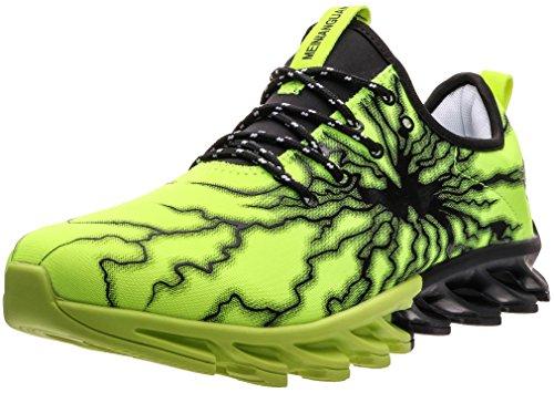 BLOOMNEXT Herren Sportschuhe Schnürschuhe Atmungsaktiv Moderne Freizeit Sneaker Schuhe Outdoor Laufschuhe Low-Top Bequeme Turnschuhe Gymnastikschuhe Männer Jungen Grün Schwarz 40 EU (41 Asien) (Sportschuhe Grüne)