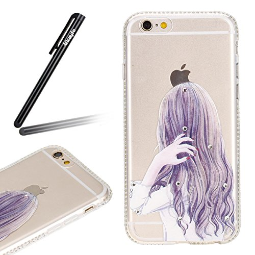 Coque Housse Etui pour iPhone 6 Plus/ 6S Plus, iPhone 6 Plus Coque Etui en Silicone avec Motif Fille et Bling Diamant, iPhone 6S Plus Silicone Transparent Coque Slim Soft Gel Etui, iPhone 6 Plus/ 6S P Fille-fille aux cheveux longs